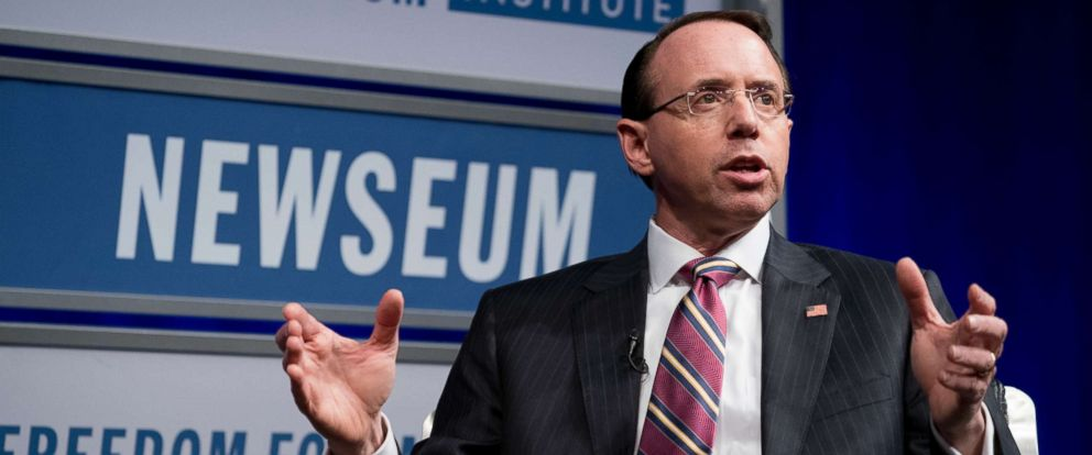 PHOTO: Deputy Attorney General Rod Rosenstein speaks during an event at the Newseum, May 1, 2018, in Washington D.C.