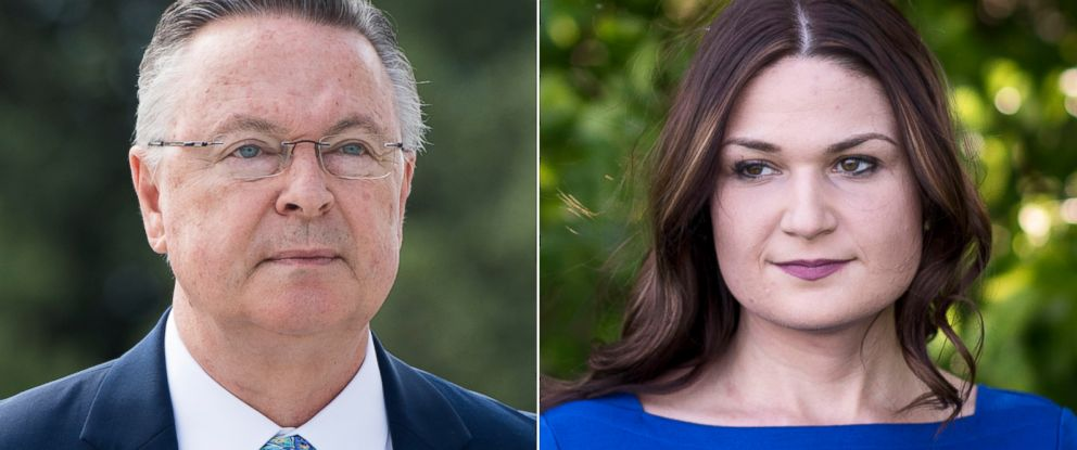 PHOTO: Pictured (L-R) are Rep. Rod Blum in Washington, D.C., Sept. 28, 2018 and Democratic candidate Abby Finkenauer in Dubuque, Iowa, June 4, 2018.