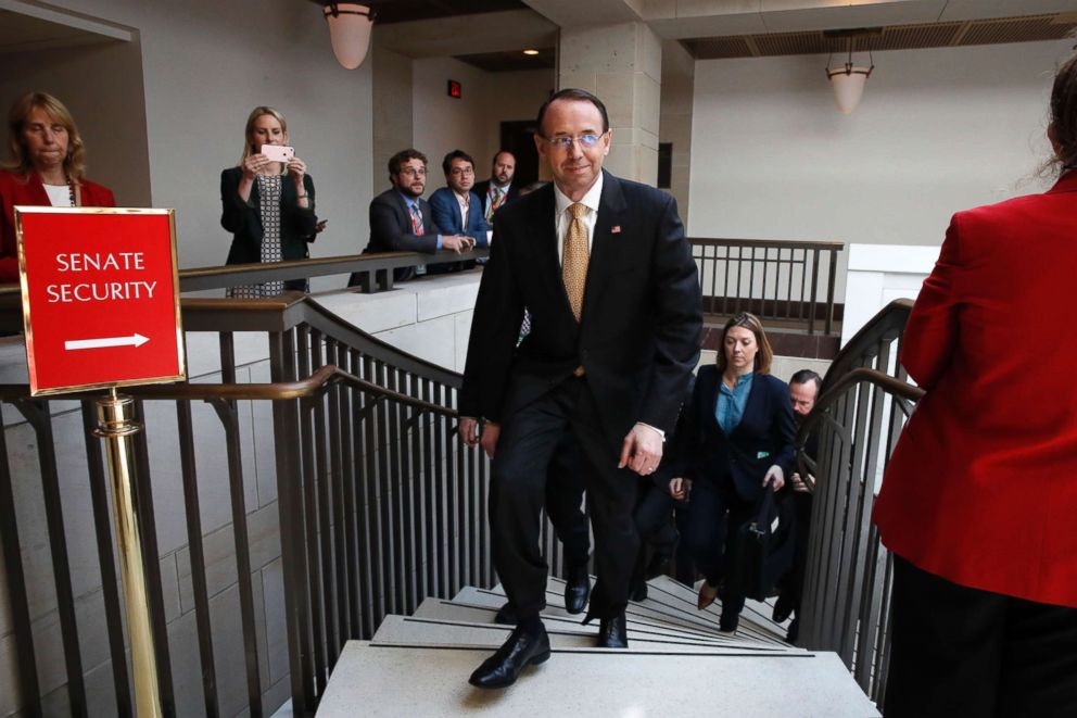 PHOTO: Deputy Attorney General Rod Rosenstein leaves a classified briefing about the federal investigation into President Donald Trumps 2016 campaign, on Capitol Hill in Washington, May 24, 2018.