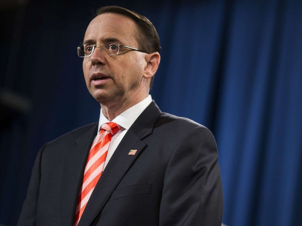 PHOTO: Rod Rosenstein, deputy attorney general, speaks during a news conference at the Department of Justice in Washington, March 23, 2018.