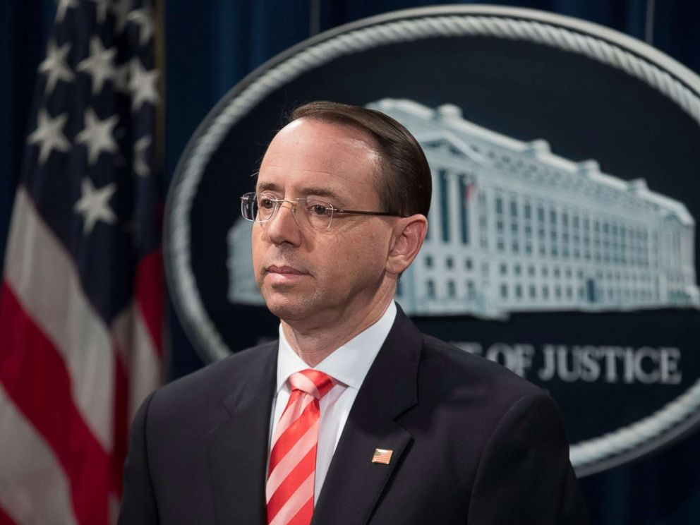 PHOTO: Deputy Attorney General Rod Rosenstein attends a news conference at the Justice Department in Washington, D.C., March 23, 2018.