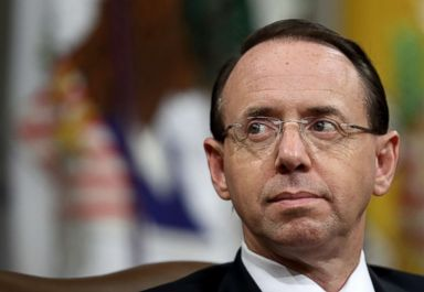 PHOTO: Deputy Attorney General Rod Rosenstein attends the Religious Liberty Summit at the Department of Justice, July 30, 2018, in Washington, DC.