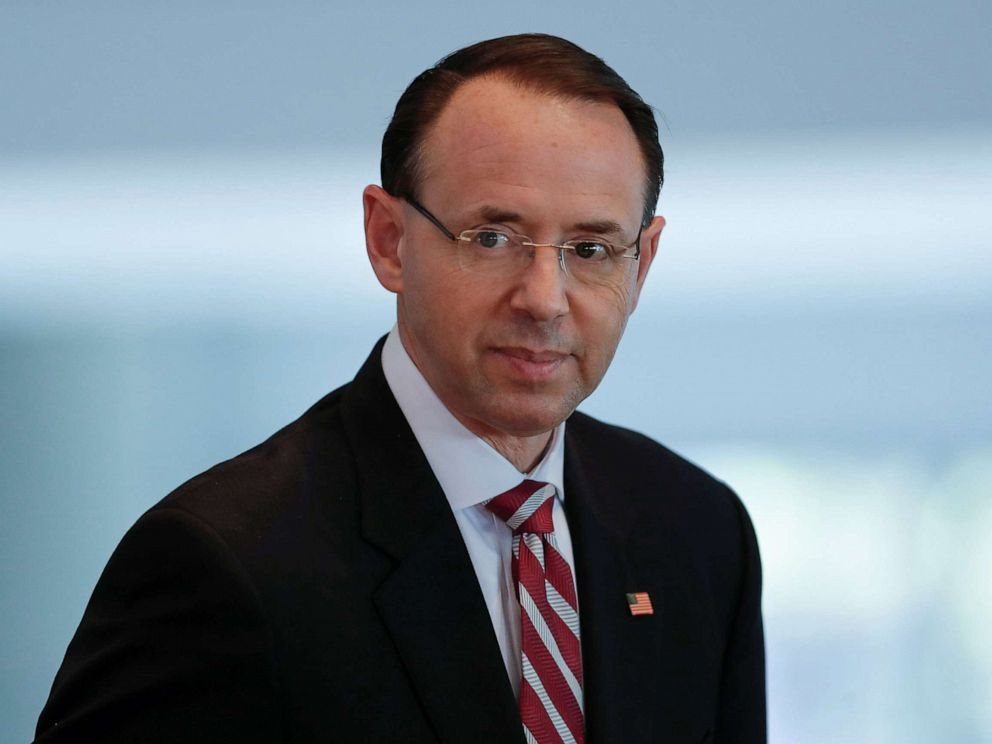 PHOTO: Deputy Attorney General Rod J. Rosenstein attends a conference in Los Angeles, Calif., Feb. 7, 2019.