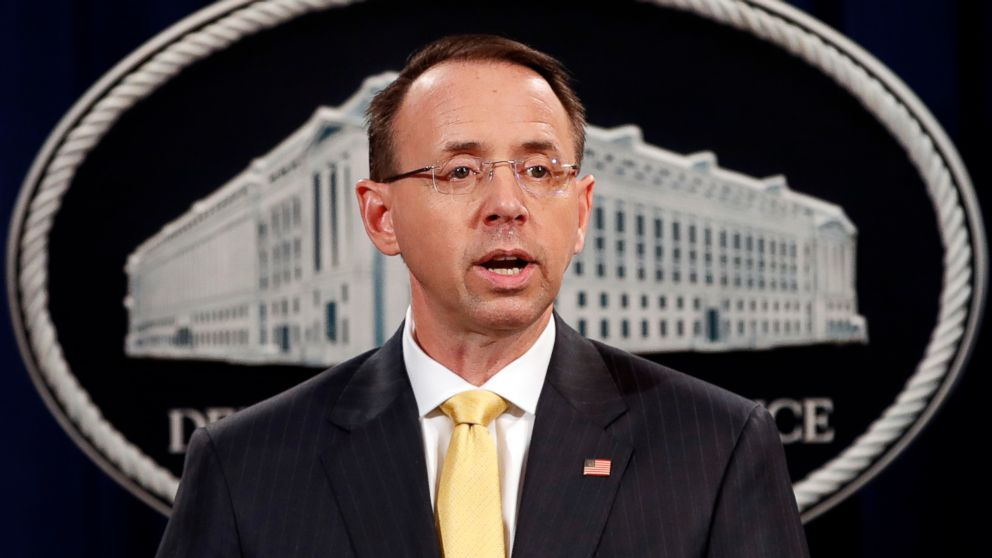 Deputy Attorney General Rod Rosenstein, speaks to the media with an announcement that the office of special counsel Robert Mueller says a grand jury has charged 13 Russian nationals and several Russian entities, Feb. 16, 2018, in Washington.