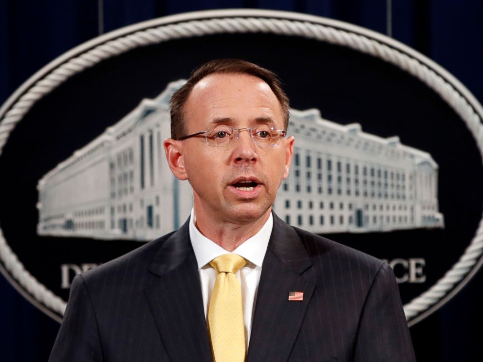 PHOTO: Deputy Attorney General Rod Rosenstein, speaks to the media with an announcement that the office of special counsel Robert Mueller says a grand jury has charged 13 Russian nationals and several Russian entities, Feb. 16, 2018, in Washington.