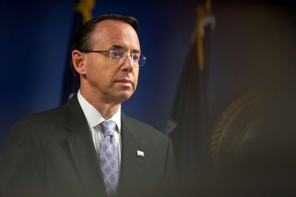 PHOTO: Deputy Attorney General Rod Rosenstein listens as U.S. Attorney General Jeff Sessions speaks during a news conference to announce efforts to reduce transnational crime, at the U.S. District Attorneys office, in Washington D.C., Oct. 15, 2018.