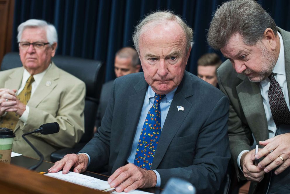 PHOTO: House Appropriations Chairman Rodney Frelinghuysen, R-N.J., center, talks with an aide before a House Appropriations State, Foreign Operations and Related Programs Subcommittee hearing on June 27, 2017.