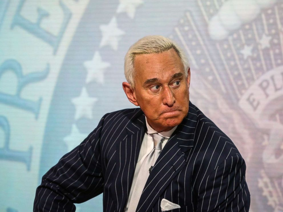PHOTO: Roger Stone, former adviser to Donald Trumps presidential campaign, listens during a Bloomberg Television interview in New York, May 12, 2017.