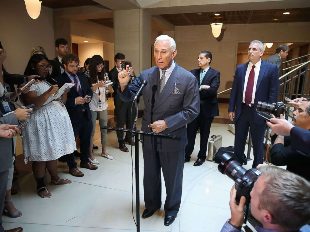PHOTO: Roger Stone, former confidant to President Trump speaks to the media after appearing before the House Intelligence Committee during a closed door hearing, Sept. 26, 2017, in Washington, DC.