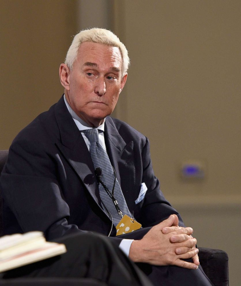 Roger Stone speaks at the Pasadena Convention Center on July 30, 2017 in Pasadena, Calif.