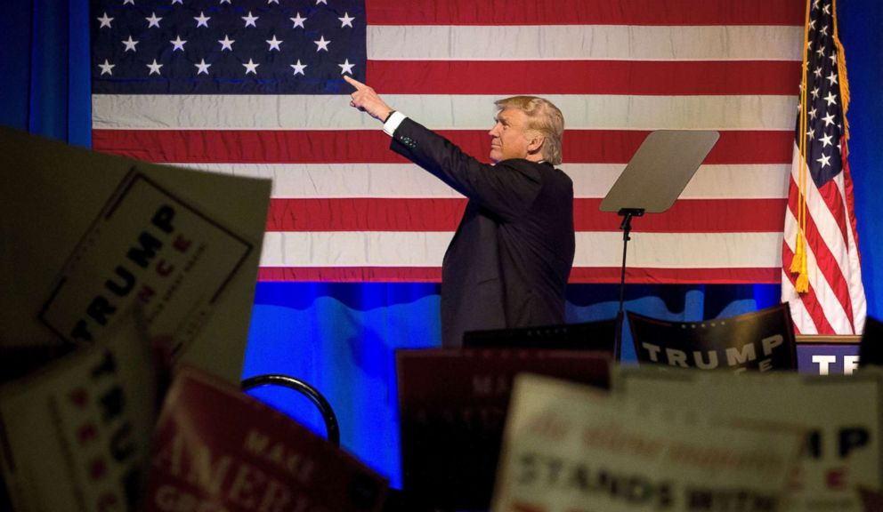 PHOTO: Donald Trump, 2016 Republican presidential nominee, points to the crowd during a campaign event in Scranton, Penn., Nov. 7, 2016.