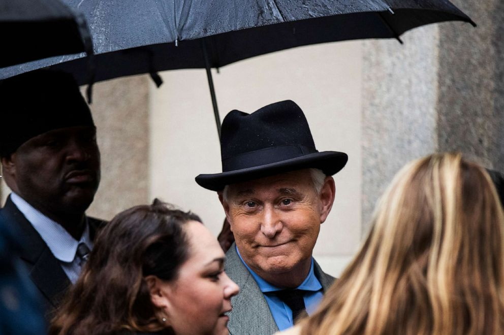 PHOTO: Roger Stone, a longtime Republican provocateur and former confidant of President Donald Trump, waits in line at the federal court in Washington, D.C., Nov. 12, 2019.