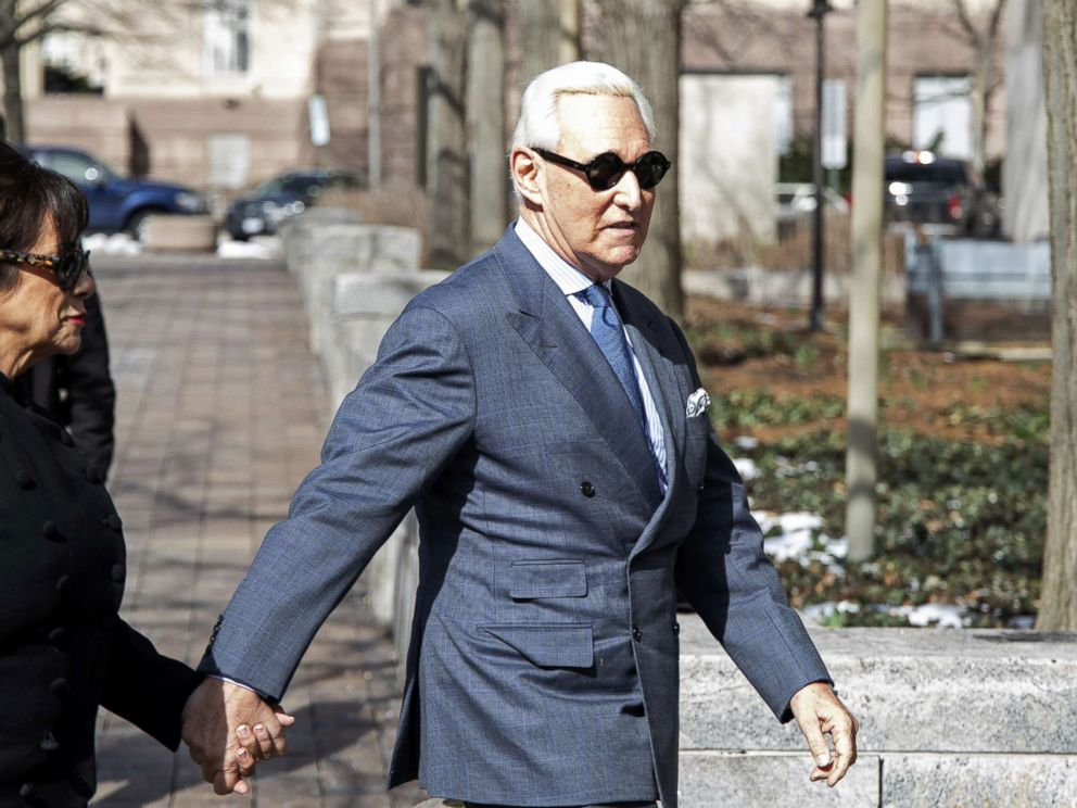 PHOTO: Roger Stone, former adviser and long time associate of President Trump, arrives at the E. Barrett Prettyman U.S. Courthouse, Feb. 21, 2019, in Washington, DC.