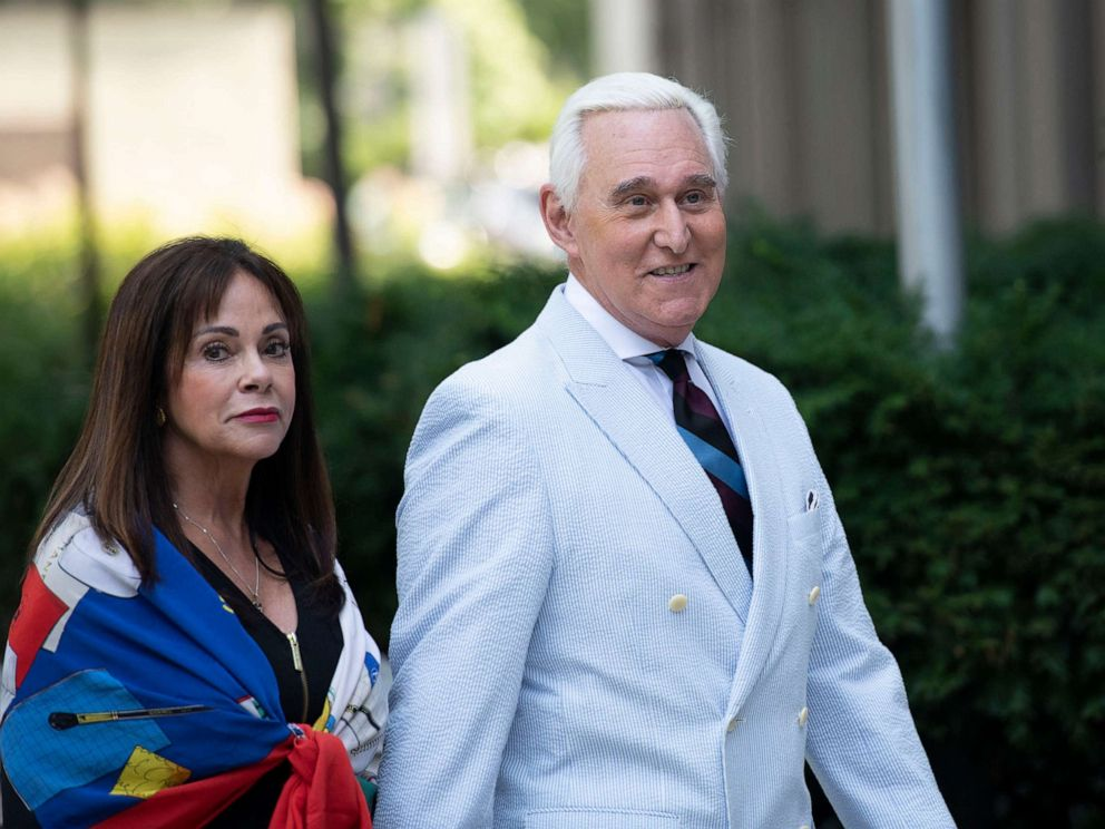 PHOTO: Roger Stone, a longtime confidant of President Donald Trump, accompanied by his wife Nydia Stone, left, arrives at federal court in Washington on July 16, 2019.
