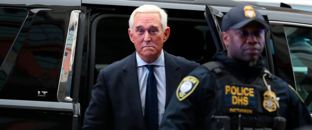 PHOTO: Former campaign adviser for President Donald Trump, Roger Stone arrives at Federal Court, Jan. 29, 2019, in Washington, D.C.