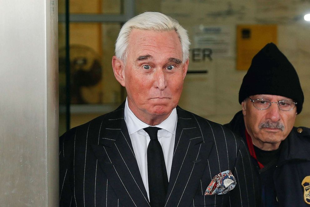 PHOTO: Former campaign adviser for President Donald Trump, Roger Stone, leaves federal court in Washington, D.C., Feb. 1, 2019.