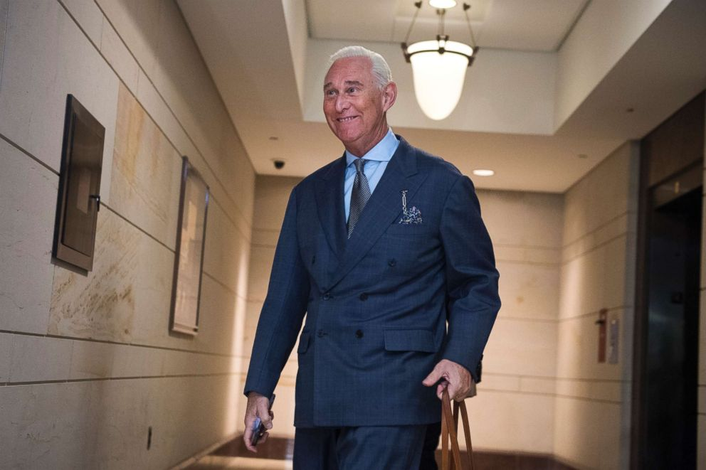 PHOTO: Roger Stone arrives in the Capitol to speak with the House Intelligence Committee on Sept. 26, 2017.