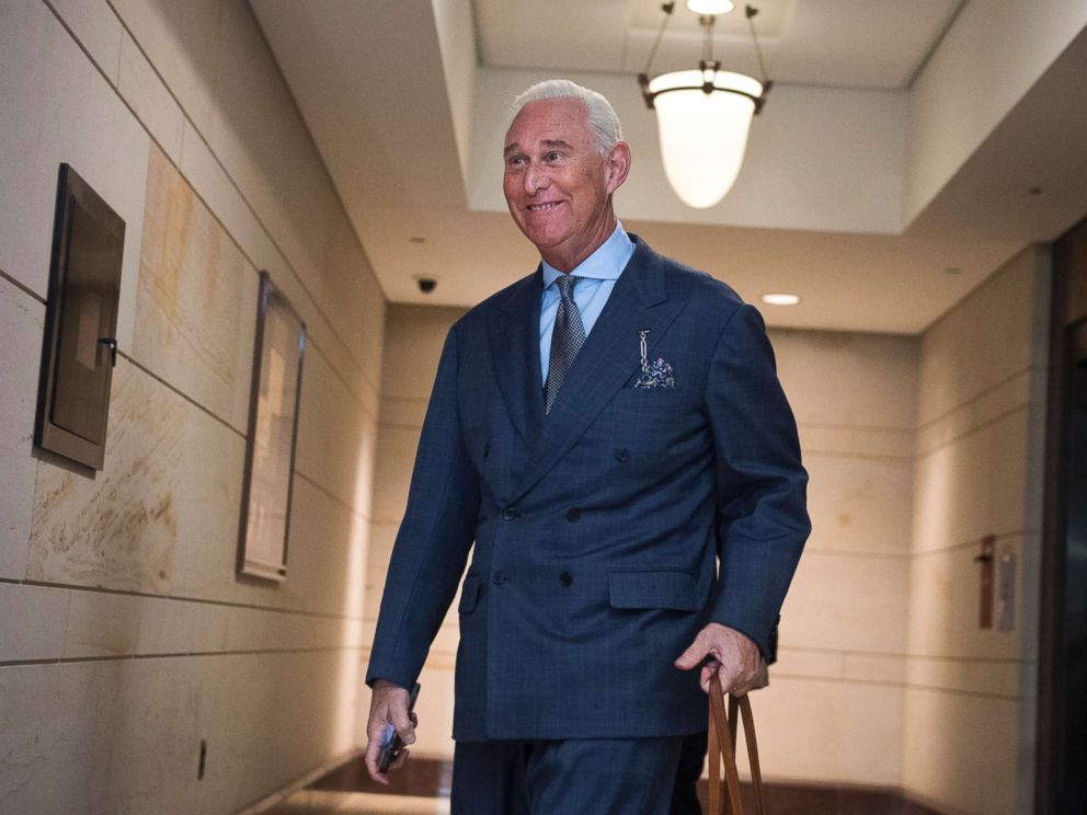 PHOTO: Roger Stone, advisor to President Trump, arrives in the Capitol to speak with the House Intelligence Committee on possible Russian interference in the 2016 election on Sept. 26, 2017.