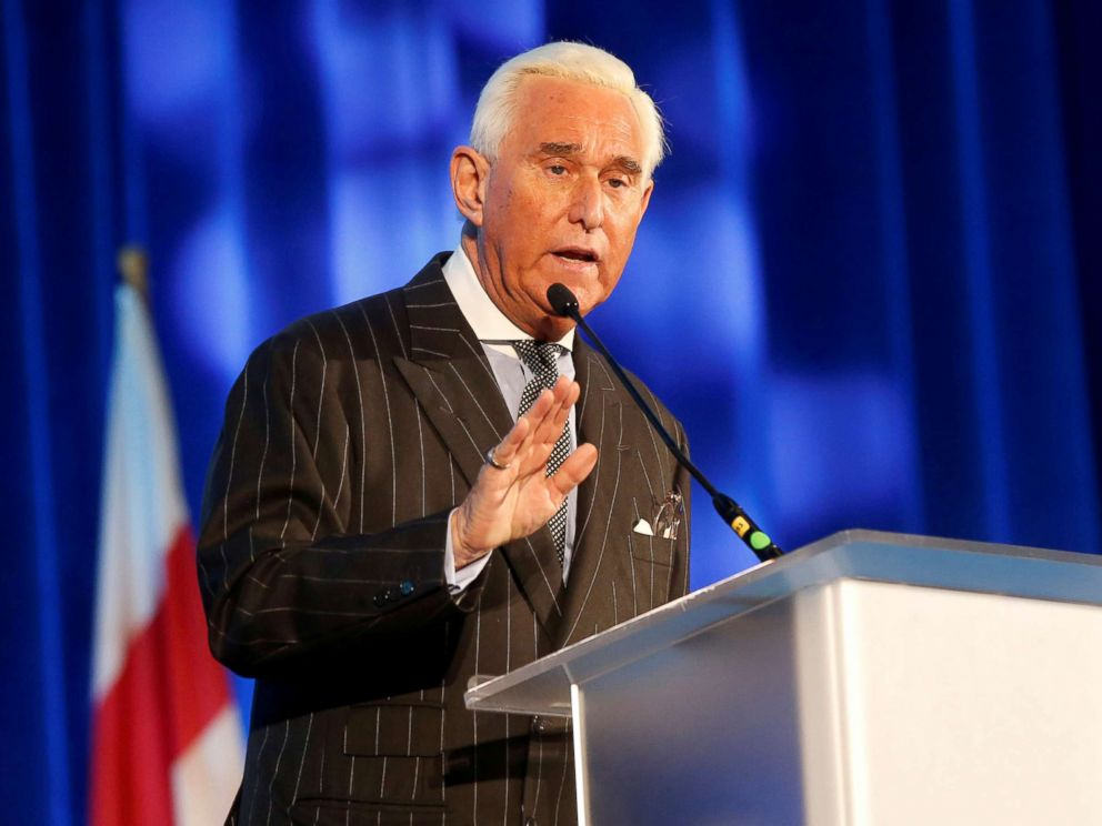 PHOTO: Political operative Roger Stone speaks at the American Priority conference in Washington D.C., in this Dec. 6, 2018 file photo.