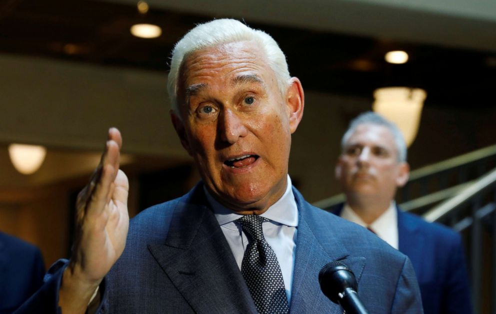 U.S. political consultant Roger Stone, a longtime ally of President Donald Trump, speaks to reporters after appearing before a closed House Intelligence Committee hearing at the U.S. Capitol in Washington, Sept. 26, 2017.