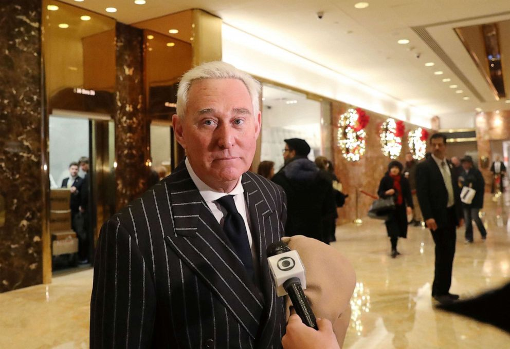 PHOTO: In this Dec. 6, 2016, file photo, Roger Stone speaks to the media at Trump Tower in New York.
