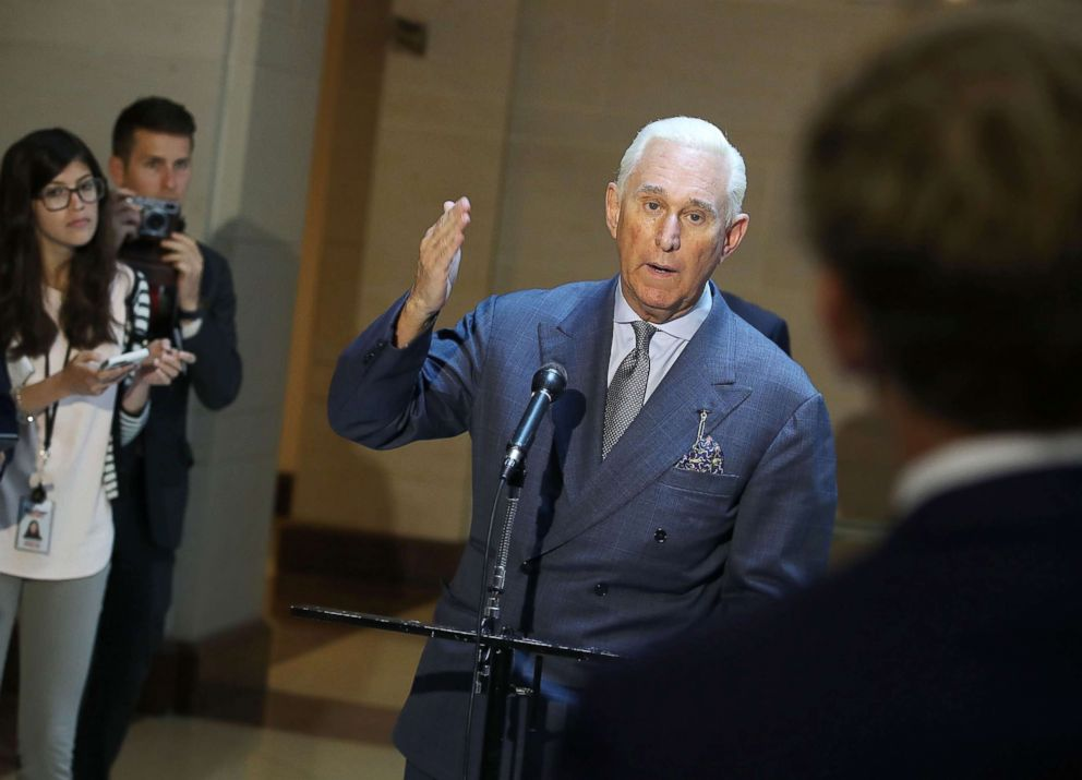 PHOTO: Roger Stone, former confidant to President Trump speaks to the media after appearing before the House Intelligence Committee closed door hearing, Sept. 26, 2017, in Washington, DC.