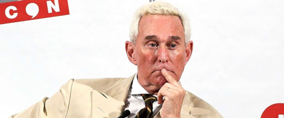 PHOTO: Roger Stone speaks during his appearance at Politicon 2017 at Pasadena Convention Center, July 29, 2017, in Pasadena, Calif.