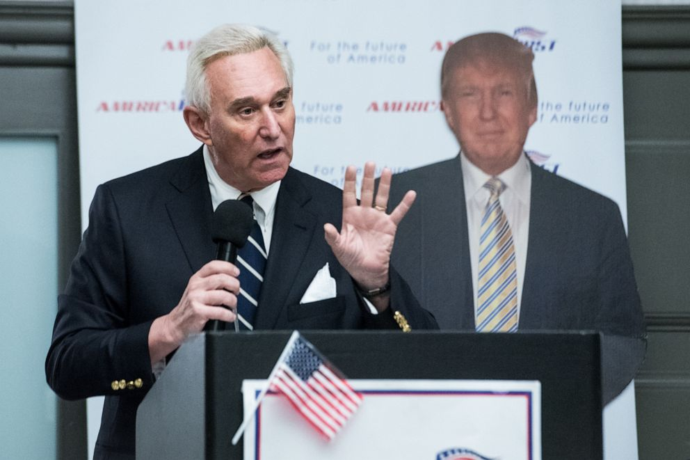 PHOTO: In this March 21, 2017, file photo, Roger Stone speaks to members of the conservative group America First inside the Marriott in Boca Raton, Fla.