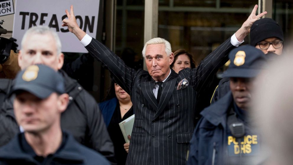 Roger Stone leaves federal court on Feb. 1, 2019 in Washington, D.C.