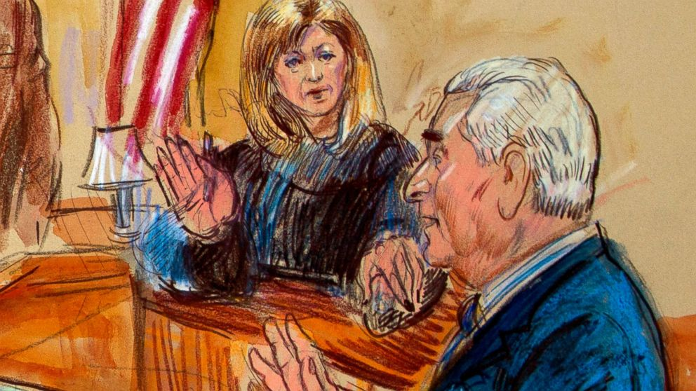 This courtroom sketch shows former campaign adviser for President Donald Trump, Roger Stone talking from the witness stand as Judge Amy Berman Jackson listens during a court hearing at the U.S. District Courthouse in Washington, Thursday, Feb. 21, 2019.