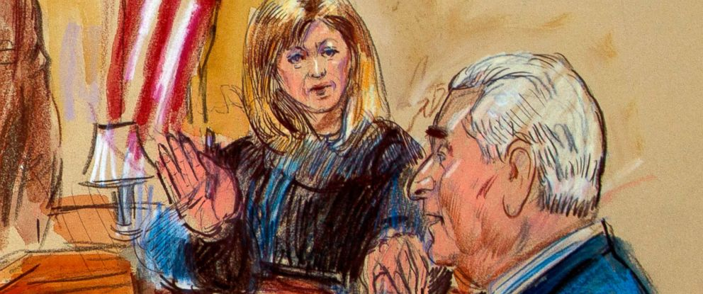 PHOTO: This courtroom sketch shows former campaign adviser for President Donald Trump, Roger Stone talking from the stand as Judge Amy Berman Jackson listens during a court hearing at the U.S. District Courthouse in Washington, Thursday, Feb. 21, 2019.
