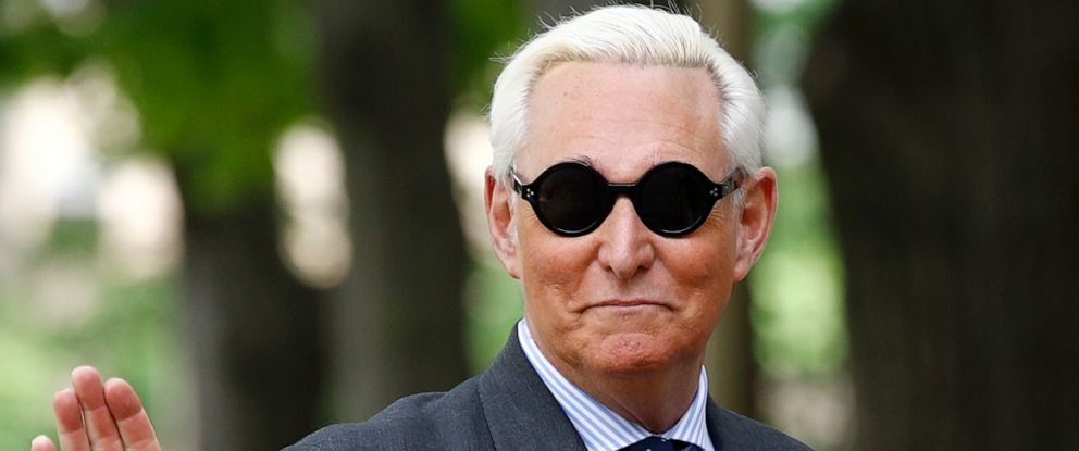 PHOTO: Roger Stone, former campaign adviser for President Donald Trump, waves as he arrives at federal court for a hearing, Tuesday, April 30, 2019, in Washington.