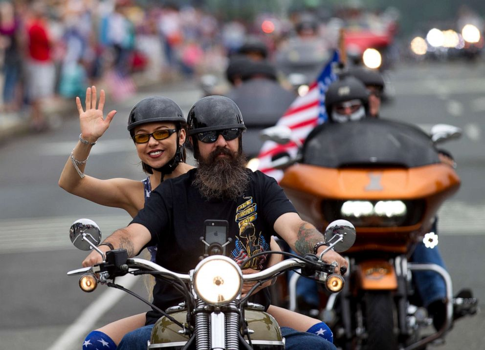 PHOTO: Thousands of bikers and military veterans take part in the Rolling Thunder motorcycle parade in Washington DC, May 27, 2018.