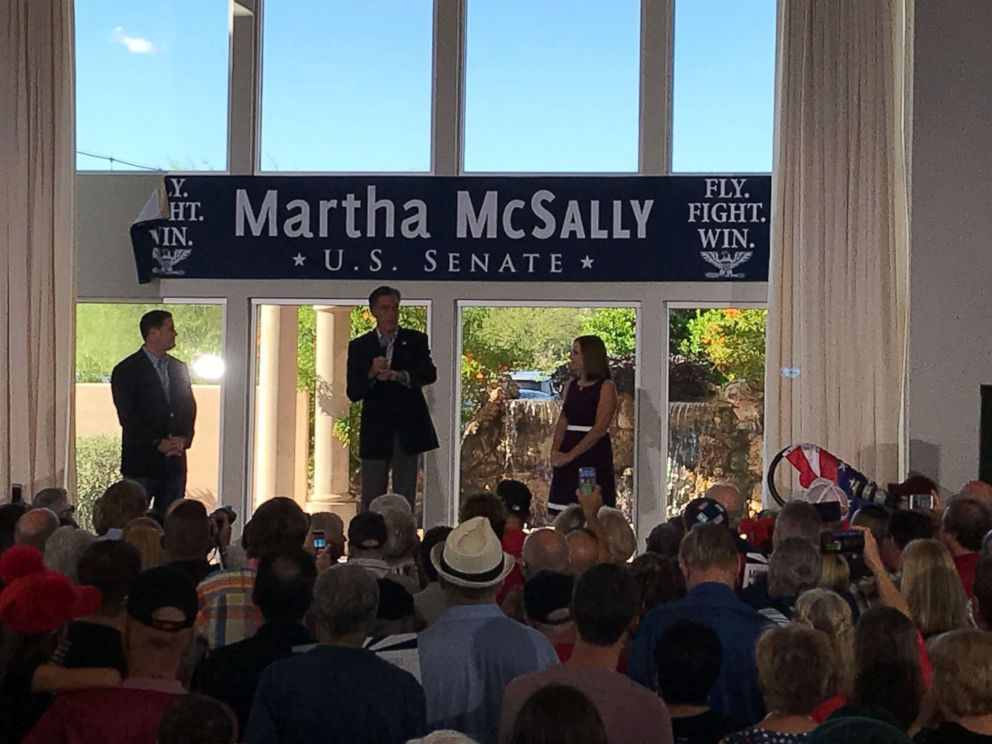 PHOTO: Mitt Romney campaigns for fellow Senate hopeful, Rep. Martha McSally, in Gilbert, Arizona on Friday October 12, 2018.