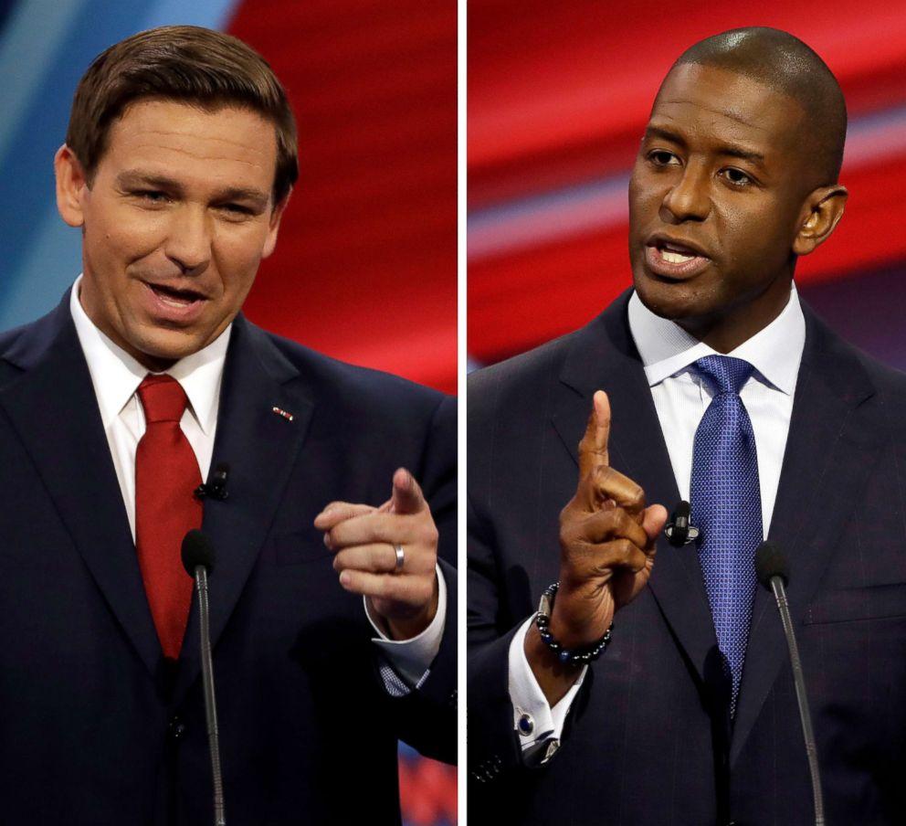 PHOTO: A combination photo of Florida Republican gubernatorial candidate Ron DeSantis (L), and Democratic gubernatorial candidate Andrew Gillum during a CNN debate in Tampa, Fla., Oct. 21, 2018.