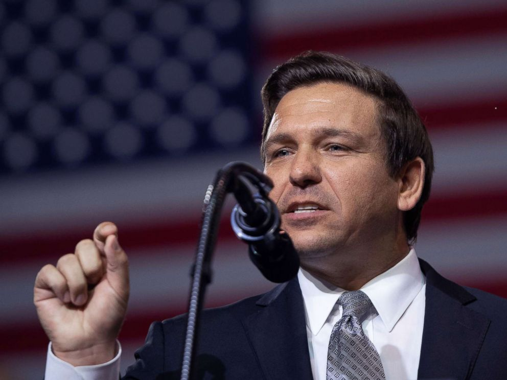 PHOTO: Rep. Ron DeSantis speaks during a rally with President Donald Trump in Tampa, Fla., July 31, 2018.