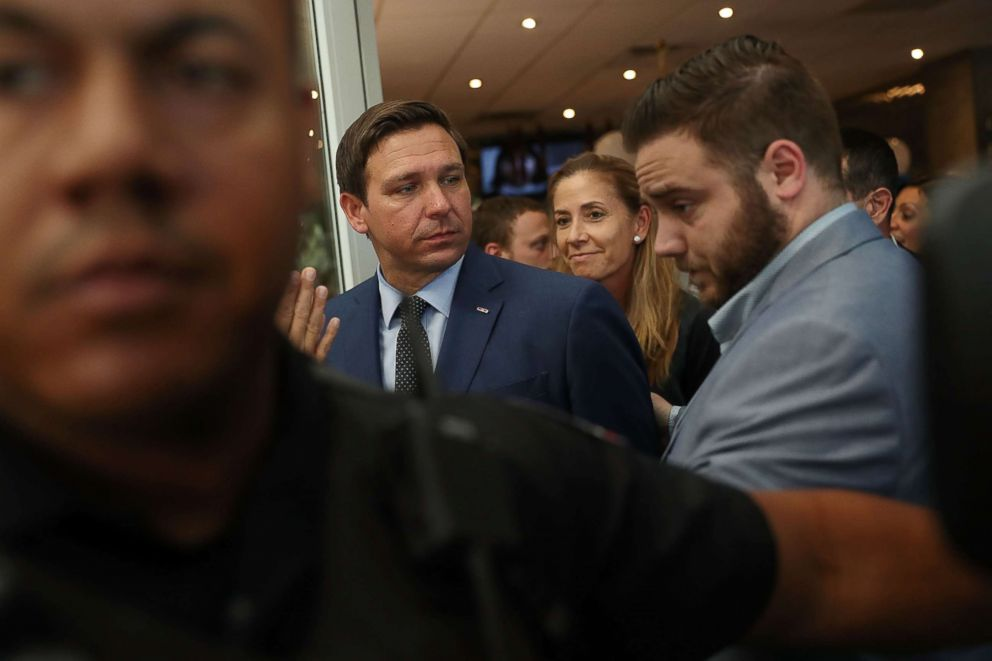 PHOTO: Republican gubernatorial candidate Ron DeSantis attends a campaign rally at Mos Bagels restaurant on Oct. 23, 2018 in Miami.