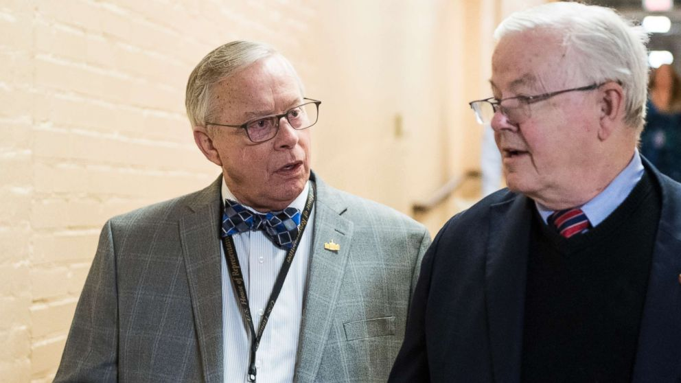 Rep.-elect Ron Wright and Rep. Joe Barton arrive for the House Republican leadership elections forum in the Capitol on Nov. 13, 2018.