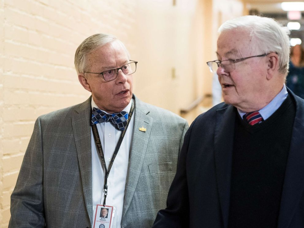 PHOTO: Rep.-elect Ron Wright and Rep. Joe Barton arrive for the House Republican leadership elections forum in the Capitol on Nov. 13, 2018.