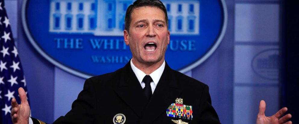 PHOTO: White House physician Dr. Ronny Jackson speaks to reporters during the daily press briefing in the Brady press briefing room at the White House, in Washington, Jan. 16, 2018.