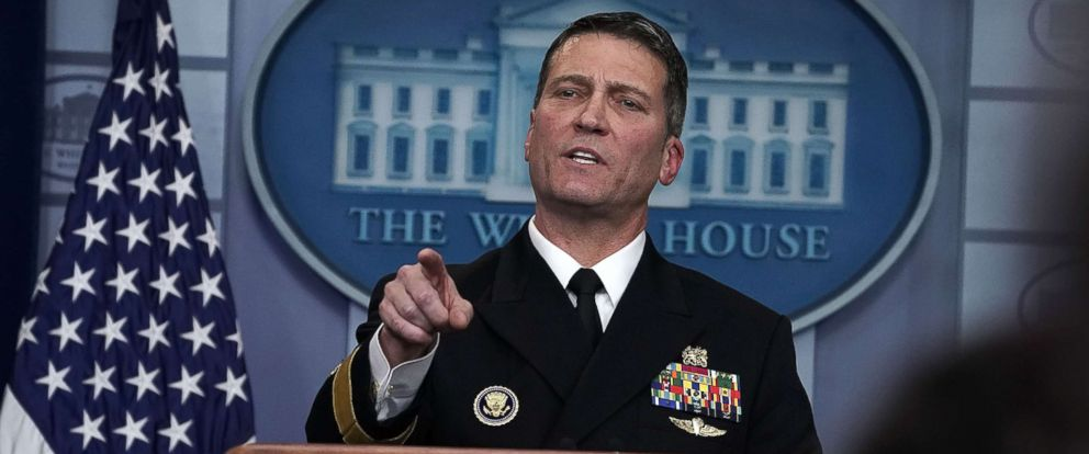 PHOTO: Physician to U.S. President Donald Trump Dr. Ronny Jackson speaks during the daily White House press briefing at the James Brady Press Briefing Room of the White House Jan. 16, 2018 in Washington.