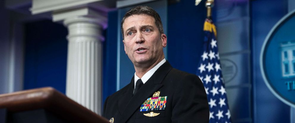 PHOTO: White House physician Dr. Ronny Jackson speaks to reporters during the daily briefing at the White House, Jan. 16, 2018.