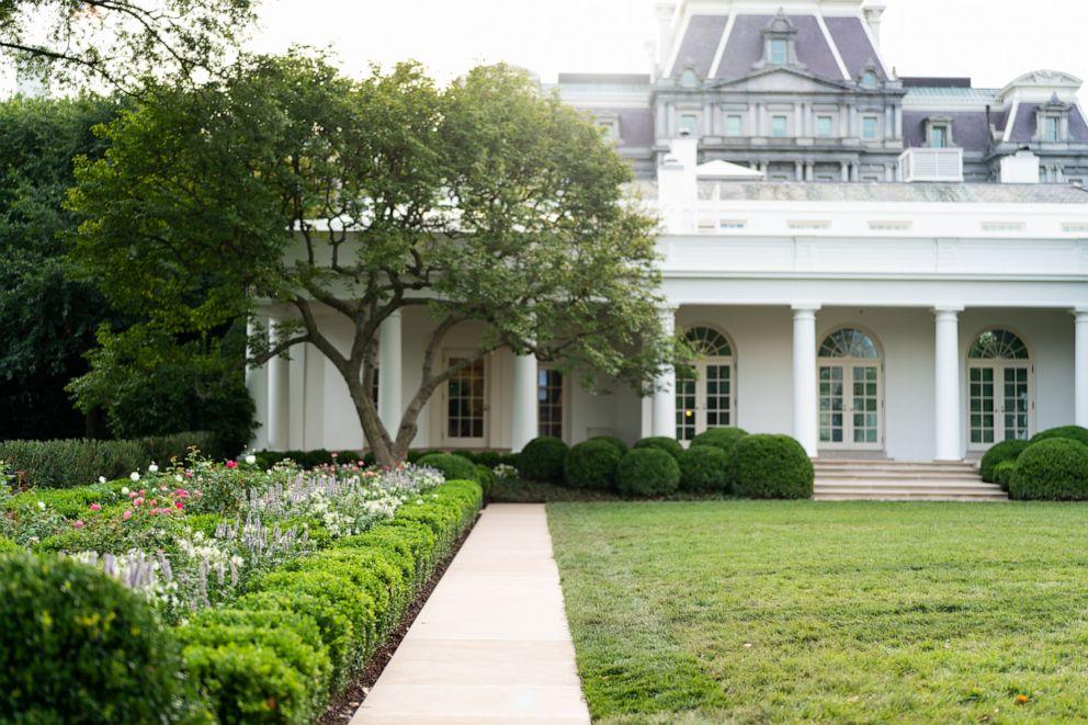 First lady Melania Trump unveils White House Rose Garden ...