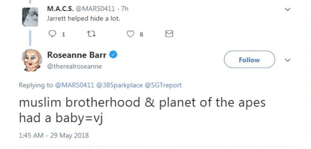PHOTO: Roseanne Barr posted a tweet on May 29, 2018 that read, muslim brotherhood & planet of the apes had a baby=vj.
