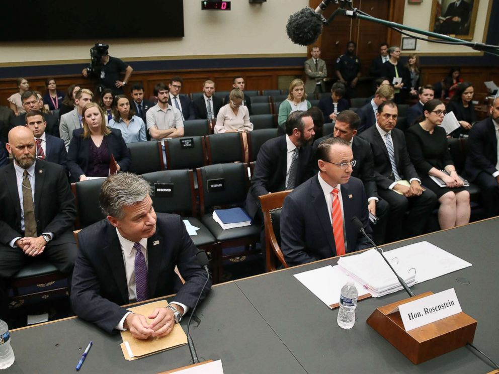 PHOTO: FBI Director Christopher Wray, left, and Deputy Attorney General Rod Rosenstein appear before the House Judiciary Committee on oversight of FBI and DOJ actions surrounding the 2016 election, June 28, 2018 in Washington, D.C.