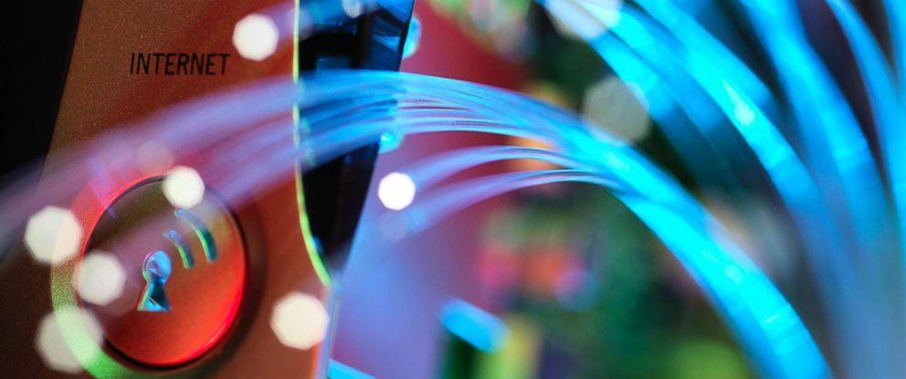 PHOTO: Broadband hub and fibre optic cable.