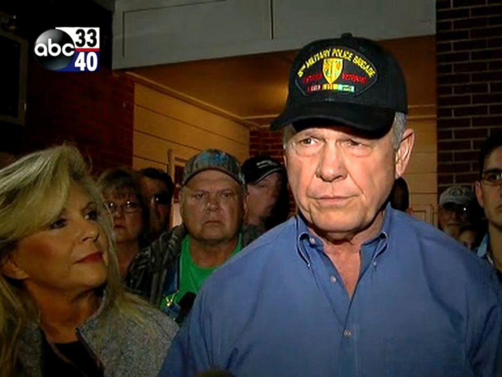 PHOTO: Former Alabama Chief Justice and U.S. Senate candidate Roy Moore makes a statement denying allegations of sexual misconduct while standing next to his wife, Kayla Moore, Nov. 13, 2017.