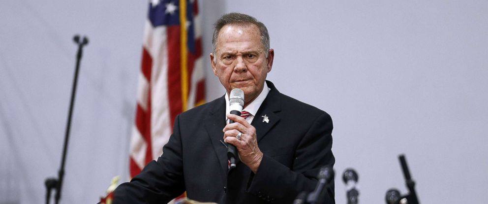 PHOTO: Republican candidate for U.S. Senate Judge Roy Moore speaks during a campaign event at the Walker Springs Road Baptist Church, Nov. 14, 2017 in Jackson, Alabama.