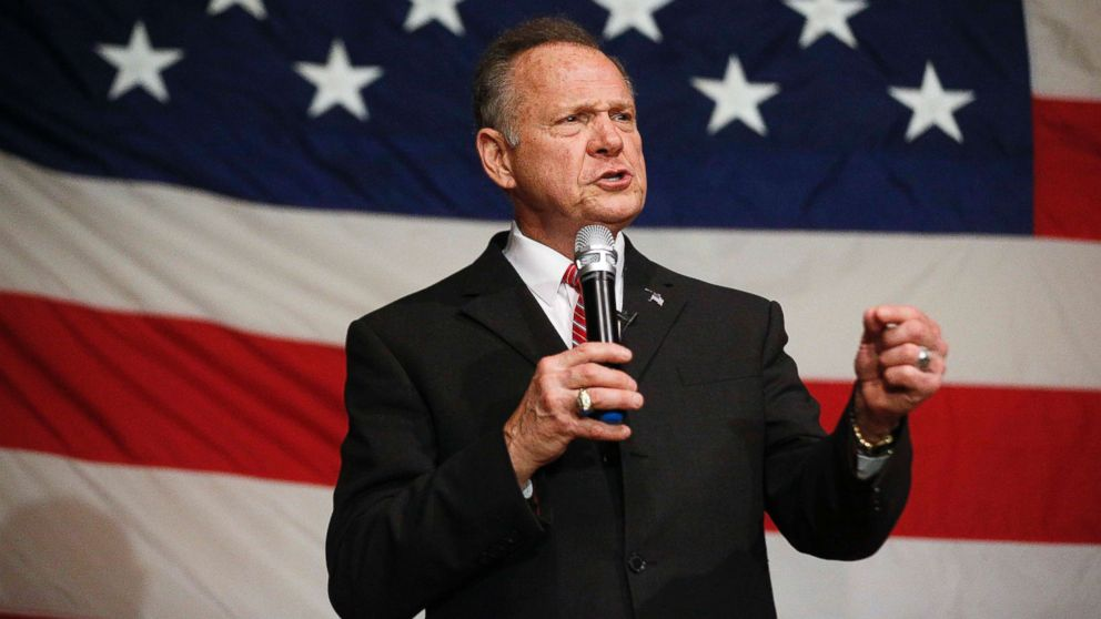 U.S. Senate candidate Roy Moore speaks at a campaign rally, Dec. 5, 2017, in Fairhope, Ala.