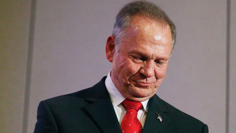 Former Alabama Chief Justice and U.S. Senate candidate Roy Moore pauses at a news conference, Nov. 16, 2017, in Birmingham, Ala.